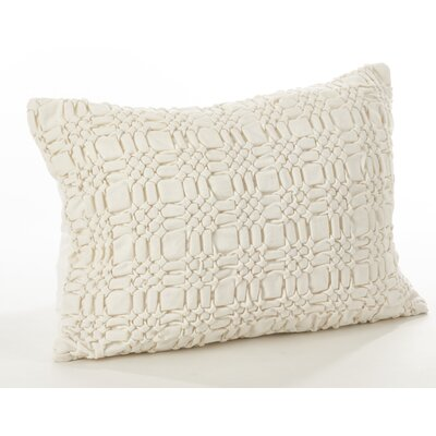 Allisin Smocked Cotton Lumbar Pillow Color: Ivory