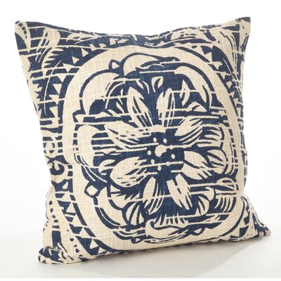 Montpellier Floral Cotton Throw Pillow Color: Navy Blue