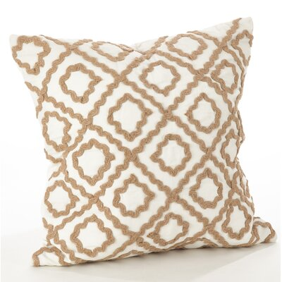 La Rochelle Jute Embroidered Cotton Throw Pillow Color: Ivory