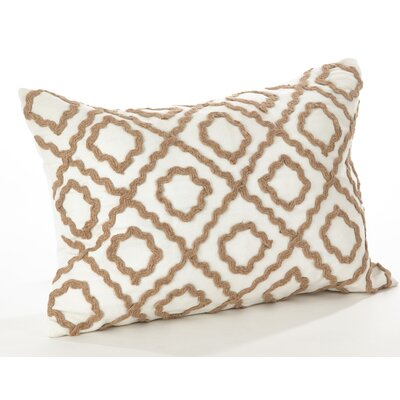 La Rochelle Jute Embroidered Cotton Lumbar Pillow Color: Ivory