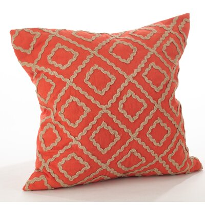 La Rochelle Jute Embroidered Cotton Throw Pillow Color: Persimmon