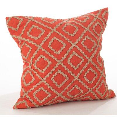 La Rochelle Jute Embroidered Cotton Throw Pillow Color: Persimmon