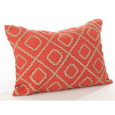 La Rochelle Jute Embroidered Cotton Lumbar Pillow Color: Persimmon