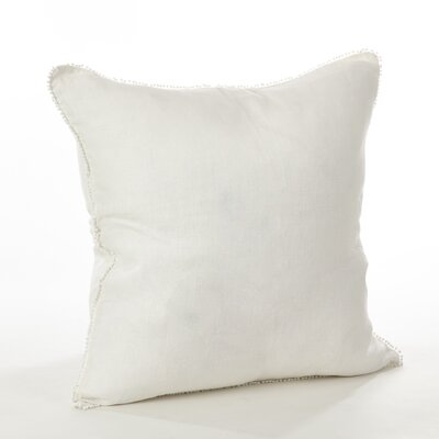 Pomponin Linen Throw Pillow Color: Ivory