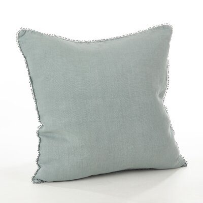 Pomponin Linen Throw Pillow Color: Blue-Grey
