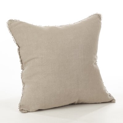 Pomponin Linen Throw Pillow Color: Natural