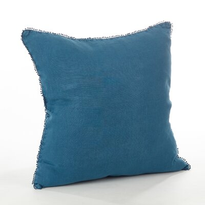 Pomponin Linen Throw Pillow Color: Ocean Blue