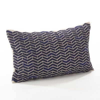 Marcella Cotton Throw Pillow Color: Navy Blue