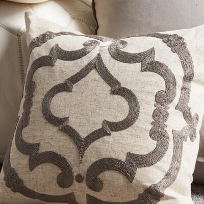 Manosque Embroidered Design Throw Pillow Color: Grey & Off-White