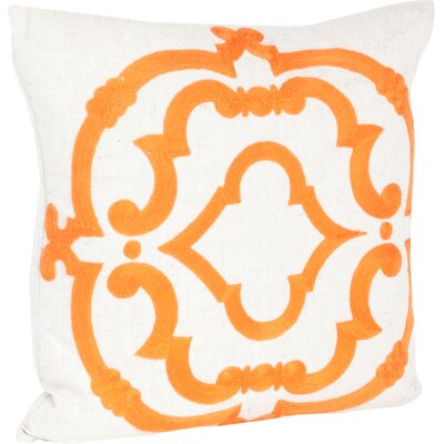 Rue Serret Embroidered Design Throw Pillow Color: Persimmon & Off-White