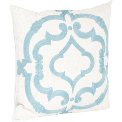 Manosque Embroidered Design Throw Pillow Color: Sea Green & Off-White