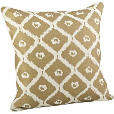 Olympia Printed Ikat Cotton Throw Pillow Color: Gold