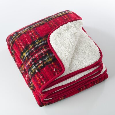 Burnsfield Red Faux Mohair Sherpa Throw