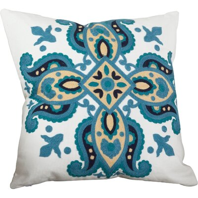 Crewel Throw Pillow Color: Ocean Blue