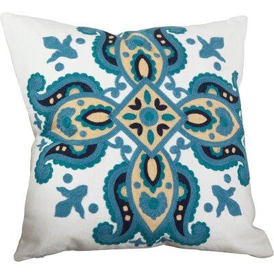 Crewel Throw Pillow Color: Ocean Blue