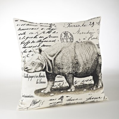 Whimsey Rhinoceros Cotton Throw Pillow