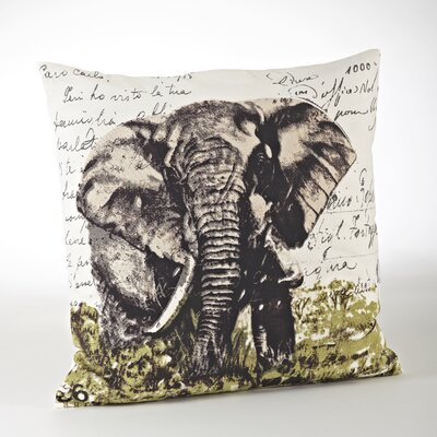 Elephant Cotton Throw Pillow