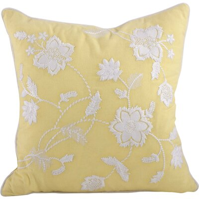 Laverna Embroided Floral Cotton Throw Pillow Color: Yellow