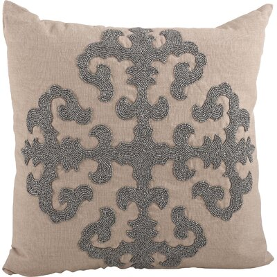 Ingrid Beaded Medallion Design Throw Pillow Color: Pewter