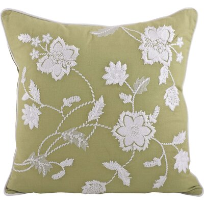Laverna Embroided Floral Cotton Throw Pillow Color: Olive