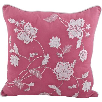 Laverna Embroided Floral Cotton Throw Pillow Color: Solid Orange