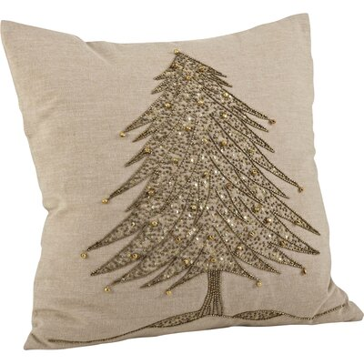 Sapin de No�l Cotton Throw Pillow Color: Gold