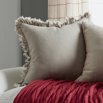 Ruffled Linen Throw Pillow Color: Natural
