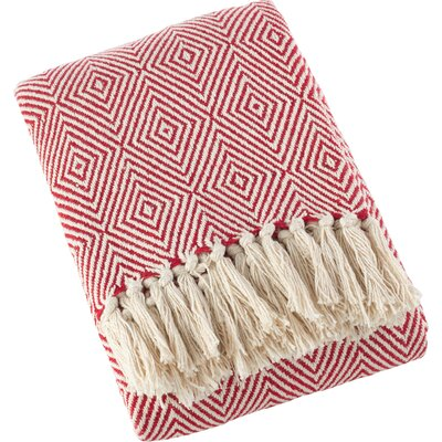 Sawyer Diamond Weave Soft Cotton Throw Color: Red
