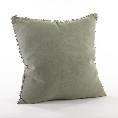 Pomponin Linen Throw Pillow Color: Olive