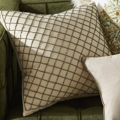 Arlequin Diamond Design Beaded Throw Pillow Color: Pewter