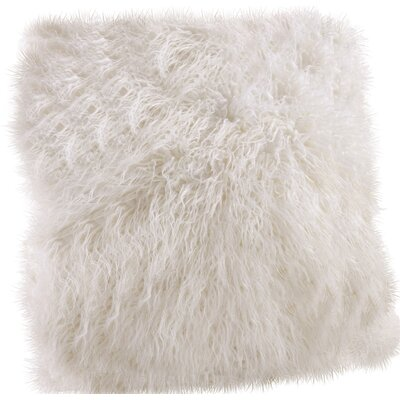 Faux Mongolian Throw Pillow Color: Ivory