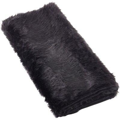 Loraine Faux Fur Throw Blanket Color: Black