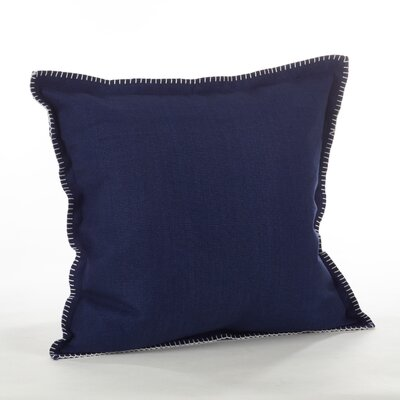 Celena Whip Stitched Flange Cotton Throw Pillow Color: Navy Blue