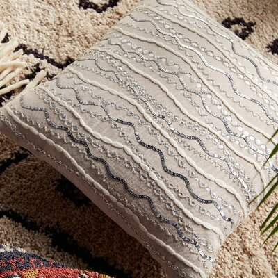 Stella Beaded Cotton Throw Pillow