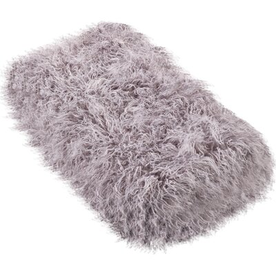 Shalon Faux Mongolian Fur Throw Blanket Color: Fog