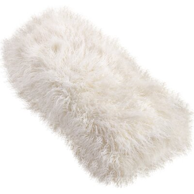 Shalon Faux Mongolian Fur Throw Blanket Color: Ivory