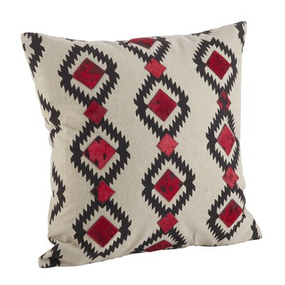 Navajo Desert Pattern Cowhide Trim Down Filled Cotton/Leather Throw Pillow