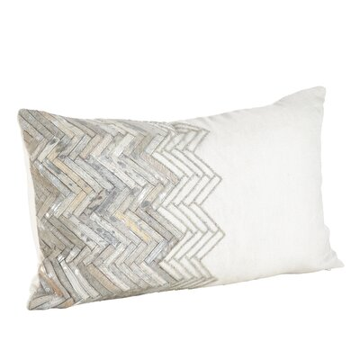 Beaded Chevron Cowhide Down Filled Cotton/Linen/Leather Lumbar Pillow