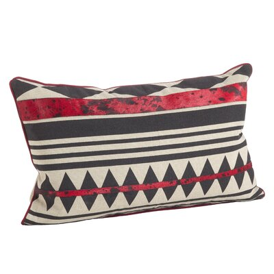 Cowhide Tribal Design Down Filled Cotton/Leather Lumbar Pillow