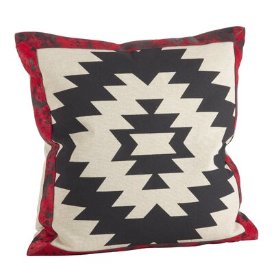 Cowhide Trim Southwestern Pattern Down Filled Cotton/Leather Throw Pillow