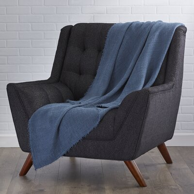 LExcellence Waffle Weave Linen Throw Blanket Color: Navy Blue