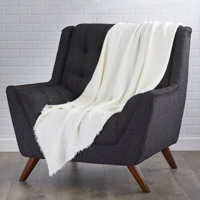 LExcellence Waffle Weave Linen Throw Blanket Color: Ivory