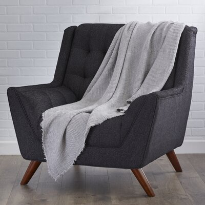 LExcellence Waffle Weave Linen Throw Blanket Color: Graphite