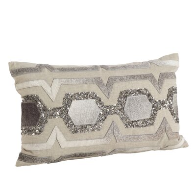 Beaded Cowhide Hexagon Design Lumbar Pillow