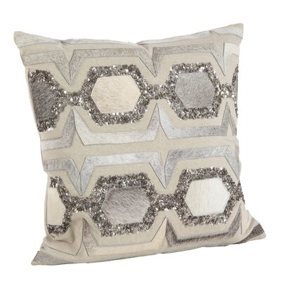 Beaded Cowhide Hexagon Design Cotton/Leather Throw Pillow