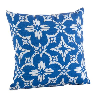 Moroccan Tiled Quatrefoil Indoor/Outdoor Throw Pillow Color: Blue, Size: 21 H x 21 W