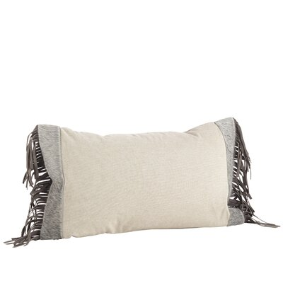Cowhide Leather Suede Fringe Decorative Cotton Down Filled Lumbar pillow