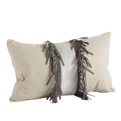 Cowhide Cotton/Leather Lumbar Pillow