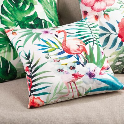 Sherwick Tropical Flamingo Indoor/Outdoor Throw Pillow
