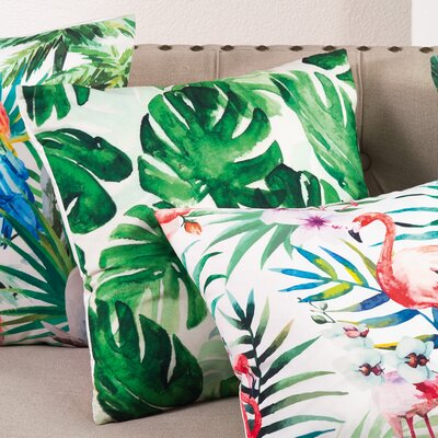 Palm Leaf Print Indoor/Outdoor Throw Pillow